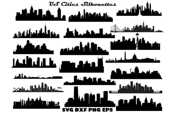 US Cities Silhouette SVG DXF EPS PNG Graphic By twelvepapers