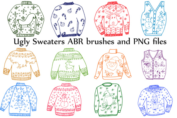 Ugly Sweater ClipArt, CHRISTMAS CLIPART, Holiday Clipart Graphic Brushes By ChiliPapers