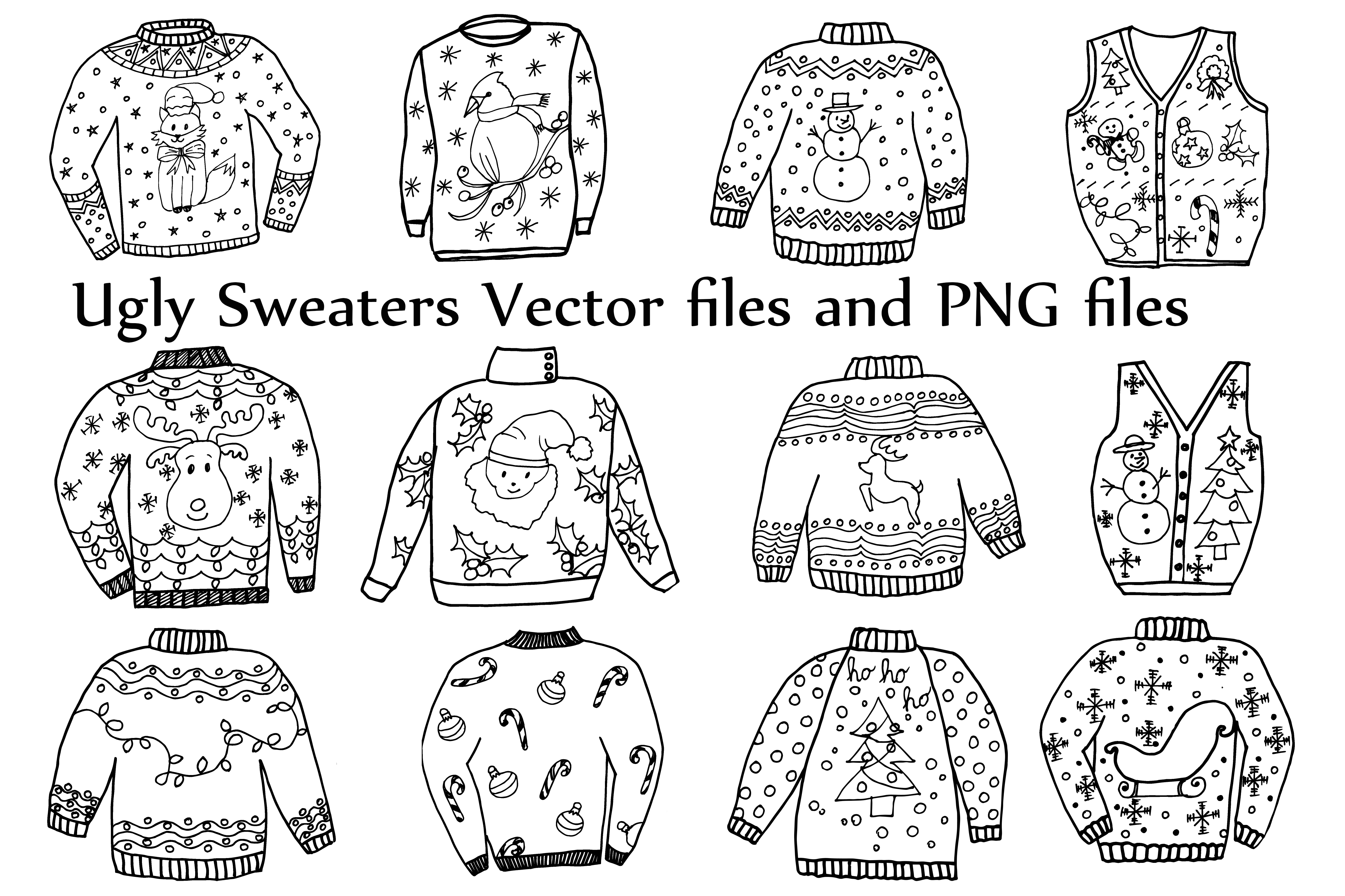 Download Free Ugly Sweater Clipart Christmas Clipart Holiday Clipart Graphic for Cricut Explore, Silhouette and other cutting machines.
