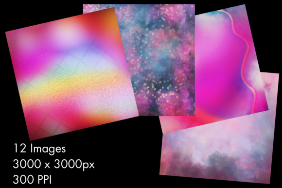 Print on Demand: Unicorn Colours Backgrounds - 12 Image Set Graphic Backgrounds By SapphireXDesigns - Image 2