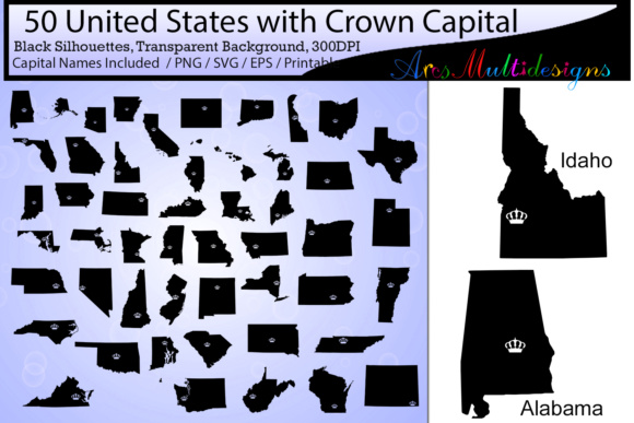 Print on Demand: United States Map with Capital Crown Graphic Illustrations By Arcs Multidesigns