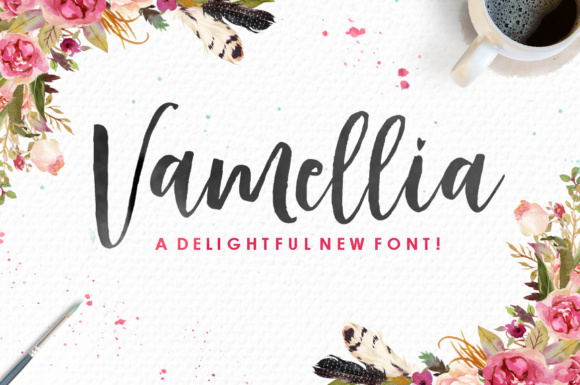 Print on Demand: Vamellia Script & Handwritten Font By Youngtype