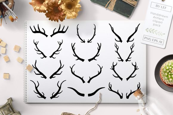 Vector Antlers Deer Graphics Graphic Illustrations By By Lef