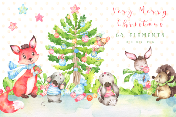 Very Merry Christmas Watercolor Set Graphic By tatianatroian.art Image 1