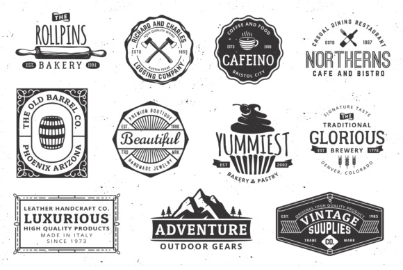 Print on Demand: Vintage Logo Templates Graphic Logos By great19 - Image 3