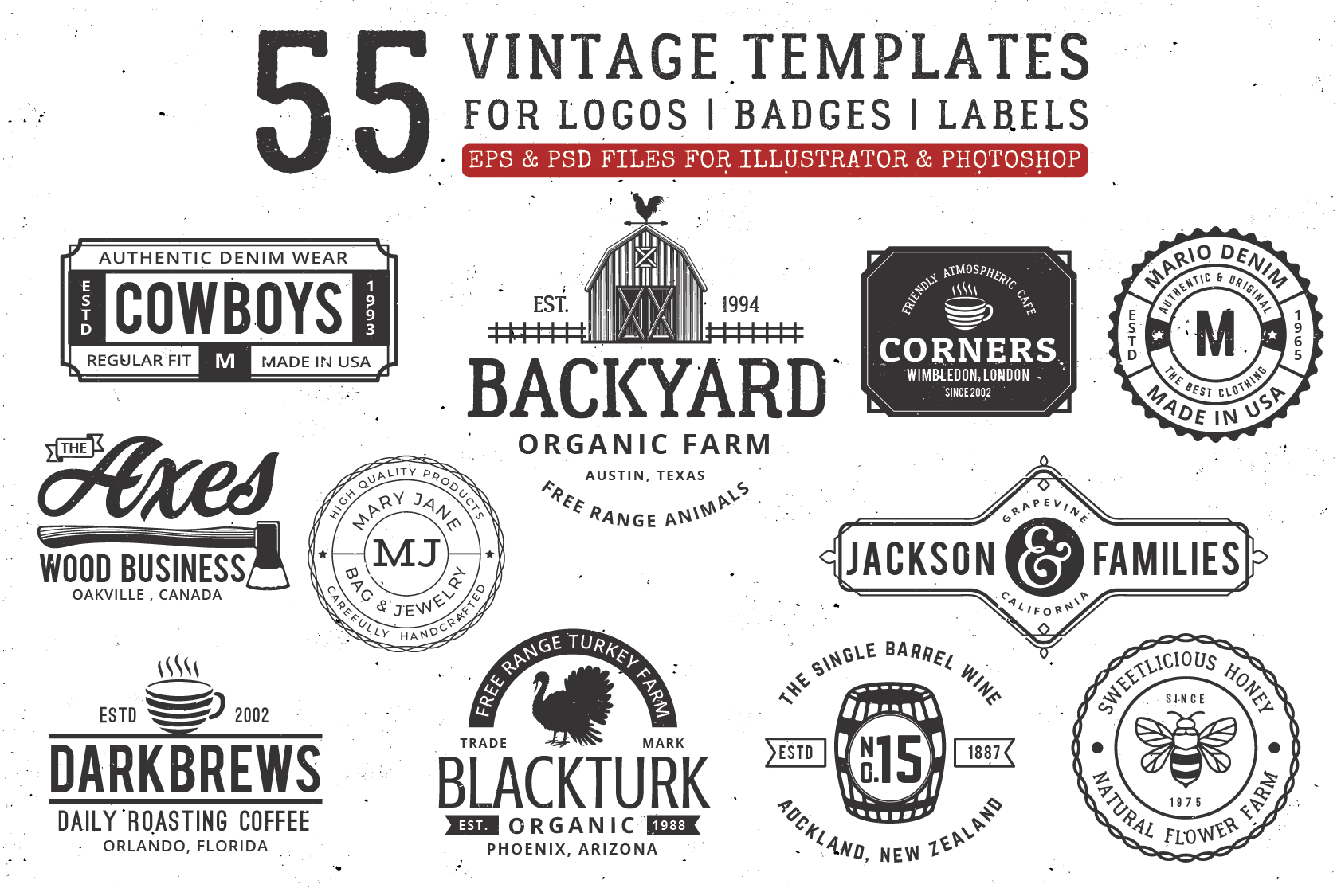 Vintage Logo Templates Graphic By Great19 Creative Fabrica