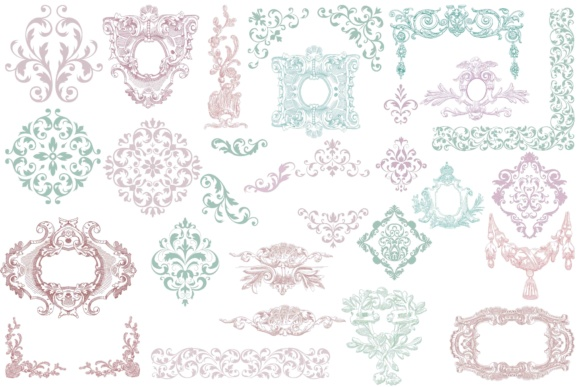 Print on Demand: Vintage Ornaments Clip Art Graphic Illustrations By retrowalldecor