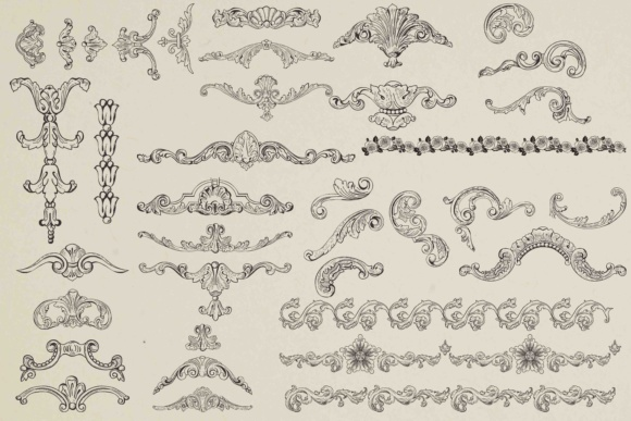 Print on Demand: Vintage Ornaments Clip Art Graphic Crafts By retrowalldecor