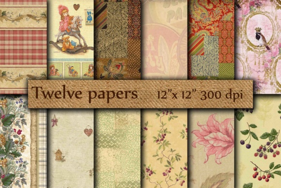 Vintage Digital Paper Graphic By twelvepapers