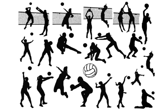 Download Free Volleyball Silhouettes Graphic By Retrowalldecor Creative Fabrica for Cricut Explore, Silhouette and other cutting machines.