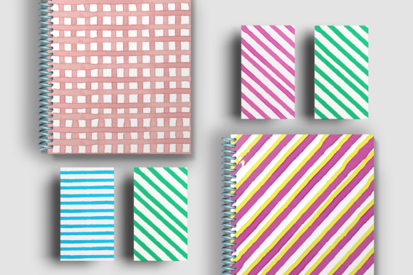 Water Color Stripes Graphic Patterns By Najla Qamber - Image 3