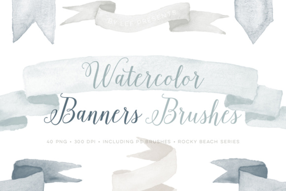Watercolor Banner Photoshop Brushes Plus Neutral Bonus PNG Files Grafik Pinselstriche von By Lef