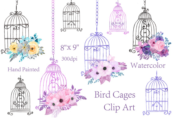 Watercolor Birdcage Clipart Graphic Illustrations By ChiliPapers