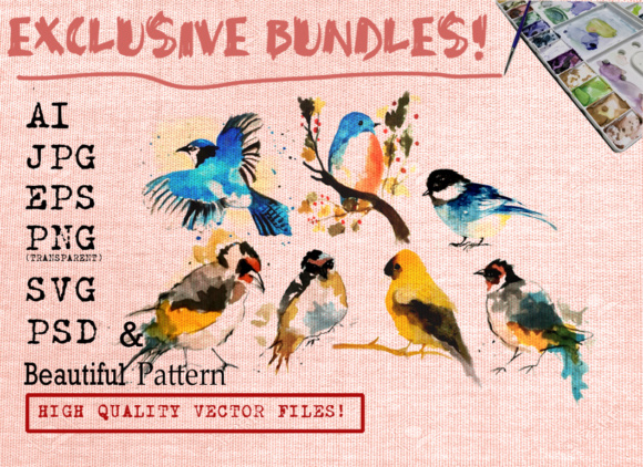 Watercolor Birds Set Grafik Illustrationen von Ambar Art