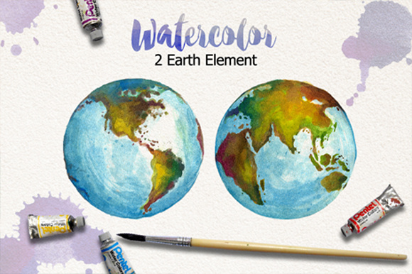 Download Free Watercolor Earth And Vector Graphic By Graphobia Creative Fabrica for Cricut Explore, Silhouette and other cutting machines.
