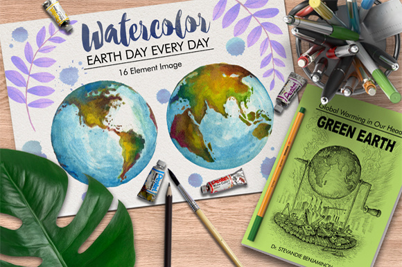 Watercolor Earth and Vector Graphic Illustrations By Graphobia