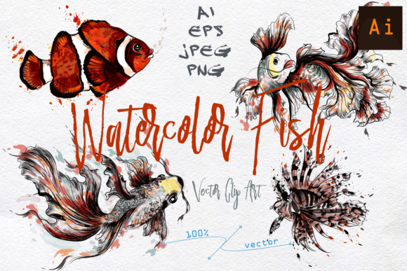 Watercolor Fish Graphic Objects By fleurartmariia