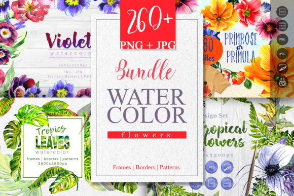 Print on Demand: Watercolor Flowers Set Graphic Illustrations By MyStocks