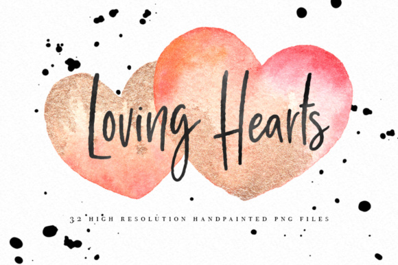 Watercolor Hearts Graphics Clipart Including Gold Graphic Illustrations By By Lef