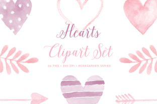 Watercolor Hearts Graphics Graphic Illustrations By By Lef