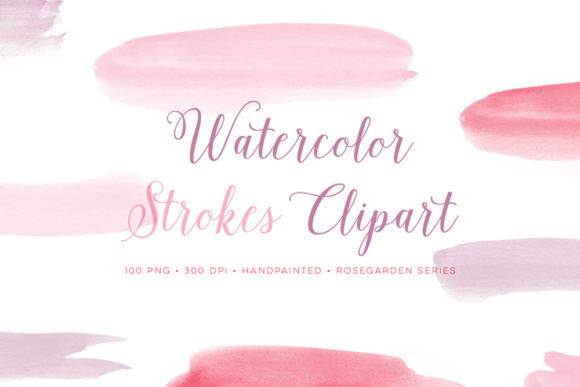 Watercolor Paint Brush Strokes Pink and Purple Graphic Objects By By Lef