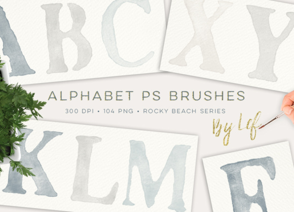 Watercolor Photoshop Brushes Including Bonus PNG Files in Neutral Color Scheme Gráfico Pinceles Por By Lef