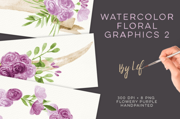 Watercolor Purple Wreaths Clipart Graphic Illustrations By By Lef