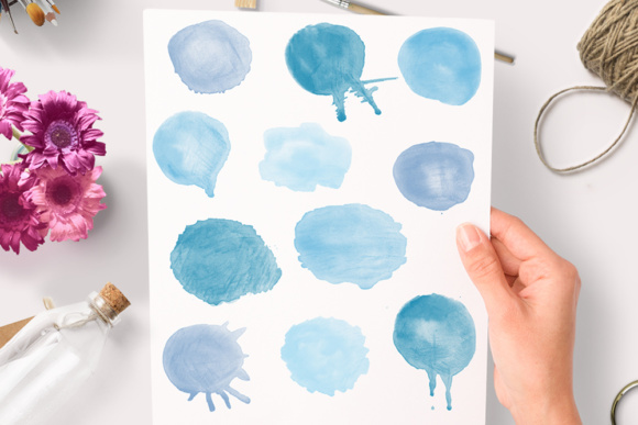 Watercolor Round Blobs Hand Painted Graphic Objects By By Lef