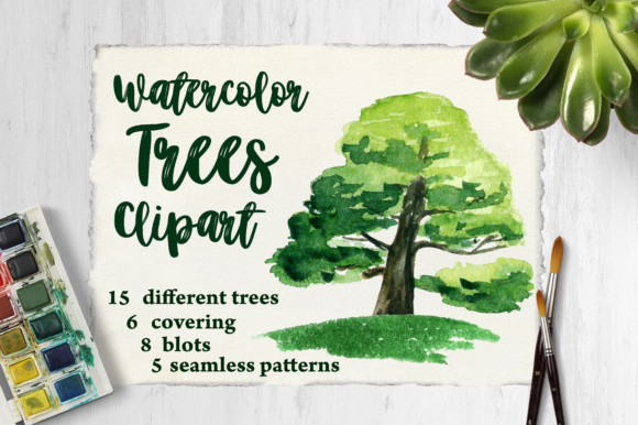 Watercolor Trees Clipart Graphic Illustrations By tregubova.jul