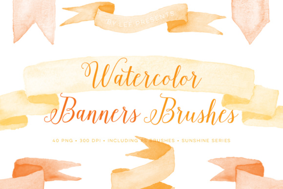 Watercolor Banner Brushes and Bonus Sunny PNG Clip Art Graphic Brushes By By Lef