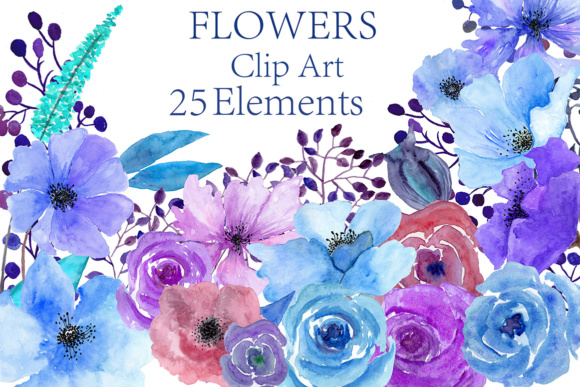 Watercolor Blue Flowers Clipart Graphic By ChiliPapers