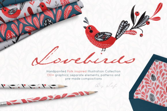 Watercolor Clipart Graphics Folk Art Birds. Gouache Patterns, Wreaths and Elements Graphic Illustrations By By Lef