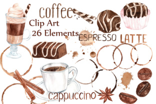 Watercolor Coffee Clipart:, SWEETS CLIPART, Coffee Bean Clipart Coffee Mug Graphic By ChiliPapers