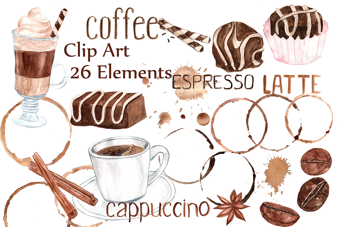Watercolor Coffee Clipart:, SWEETS CLIPART, Coffee Bean ...
