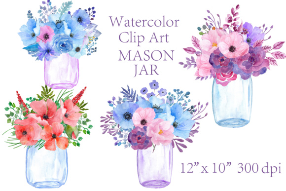 Watercolor Floral Clipart Graphic Illustrations By ChiliPapers