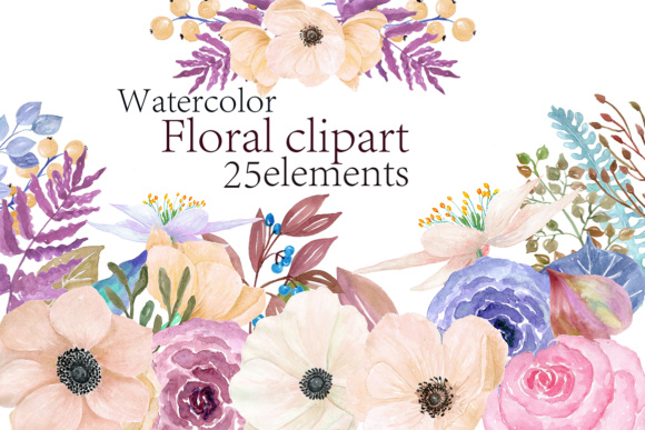Watercolor Flowers Clipart Graphic Crafts By ChiliPapers