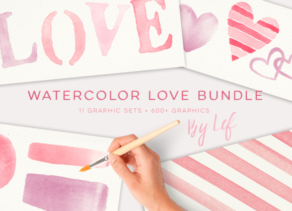 Watercolor Love and Hearts Bundle of Clip Art Graphics  Graphic Illustrations By By Lef