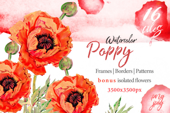 Print on Demand: Watercolor Red Poppy PNG Set Graphic Illustrations By MyStocks