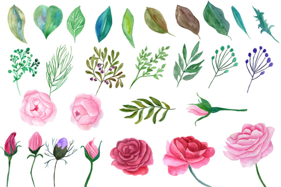 watercolor roses clipart pink flowers floral clipart diy wedding