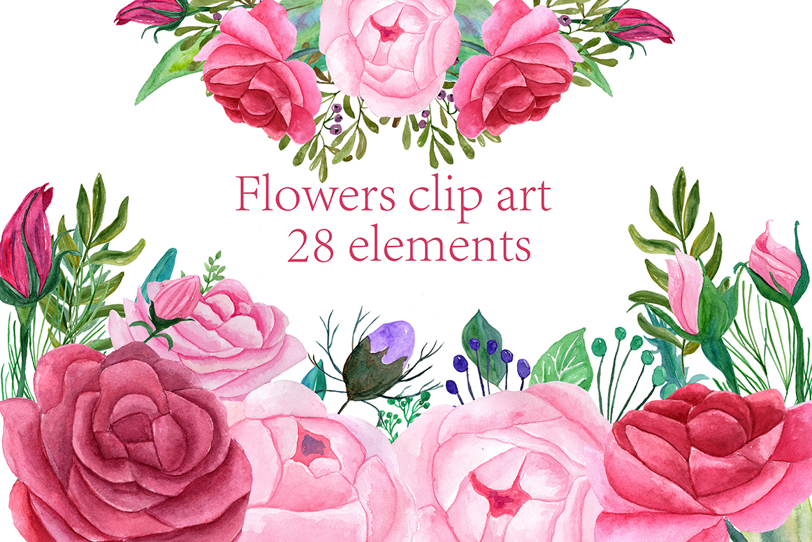 Watercolor Roses Clipartpink Flowersfloral Clipartdiy Wedding
