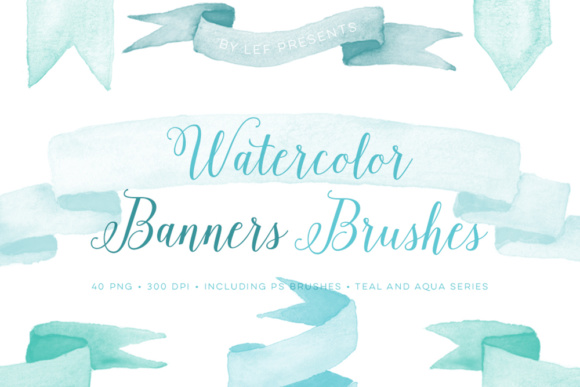 Watercolour Photoshop PS Brushes Banners Including Teal Bonus  Grafik Pinselstriche von By Lef