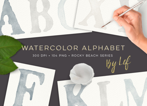 Watercolour Alphabet. Handpainted Clipart in Neutral Colours Graphic Illustrations By By Lef