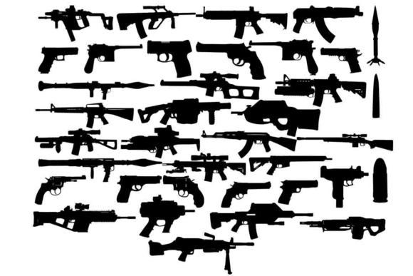 Print on Demand: Weapon Silhouettes SVG PNG DXF EPS Graphic Illustrations By retrowalldecor