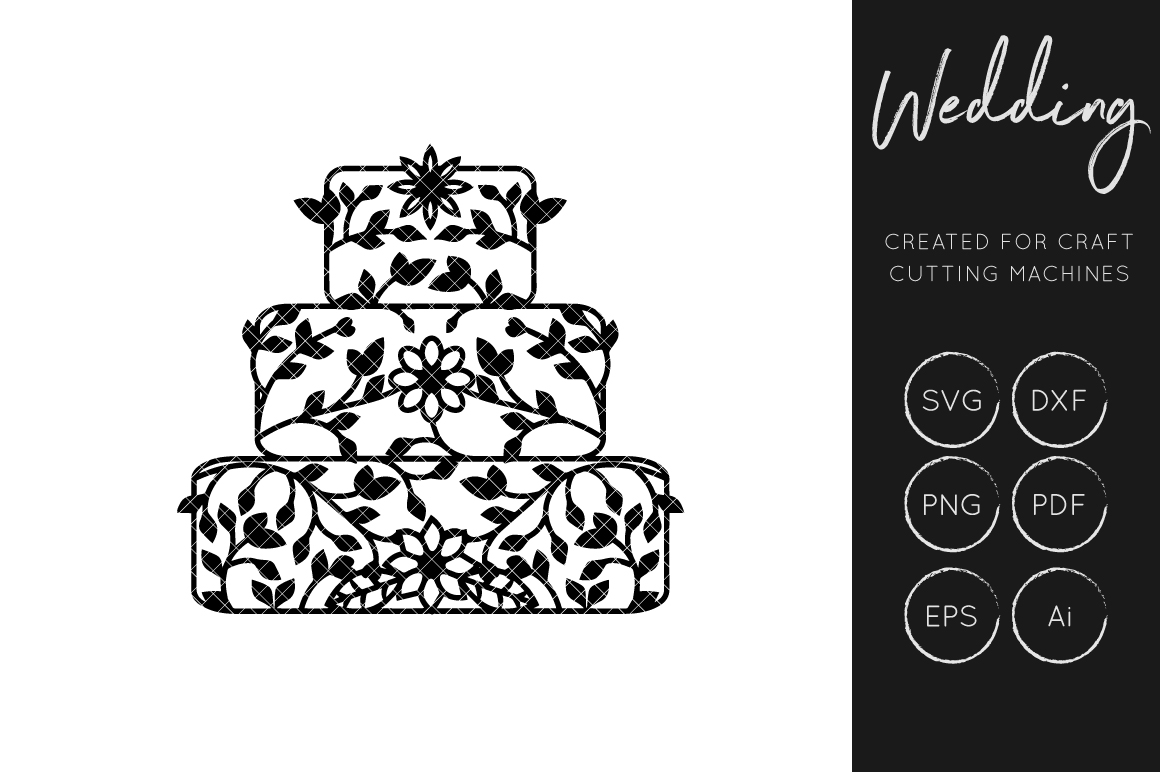 Download Free Wedding Cake Cut File Floral Wedding Graphic By Illuztrate for Cricut Explore, Silhouette and other cutting machines.