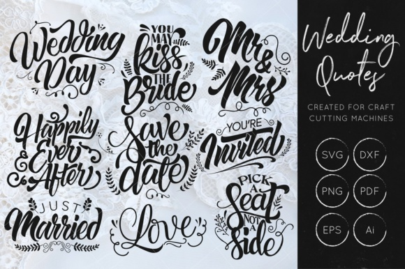 Download Free Wedding Set Grafico Por Illuztrate Creative Fabrica for Cricut Explore, Silhouette and other cutting machines.
