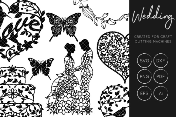 Download Free Wedding Set Graphic By Illuztrate Creative Fabrica for Cricut Explore, Silhouette and other cutting machines.