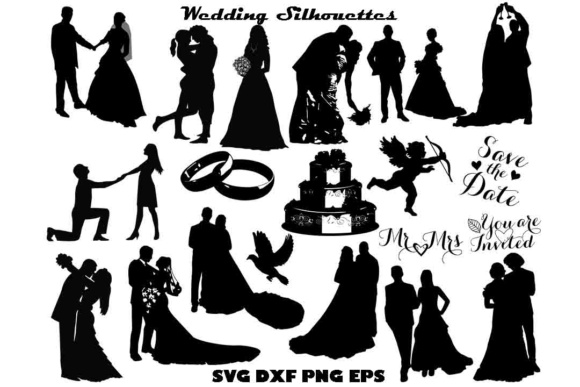 Wedding Silhouette SVG Graphic By twelvepapers