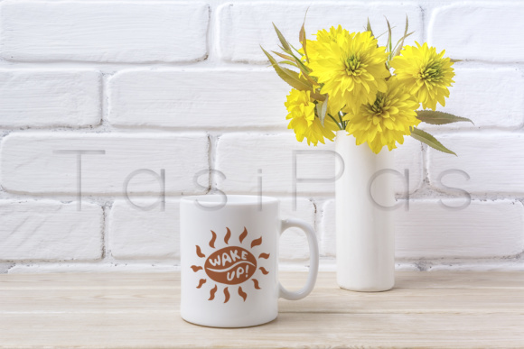 Print on Demand: White Coffee Mug Mockup with Golden Ball Flower Graphic Product Mockups By TasiPas