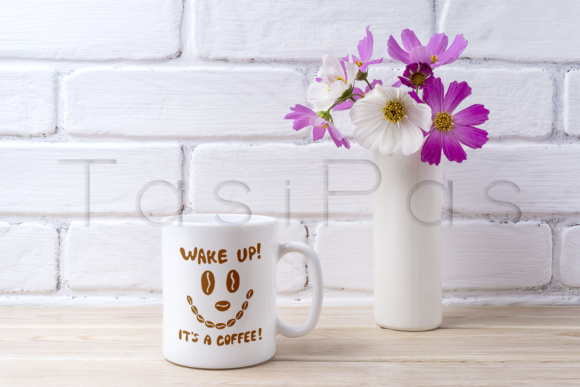 Print on Demand: White Coffee Mug Mockup with White and Pink Daisy Graphic Product Mockups By TasiPas