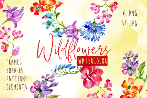 Print on Demand: Wildflowers Watercolor PNG Set Graphic Illustrations By MyStocks - Image 1